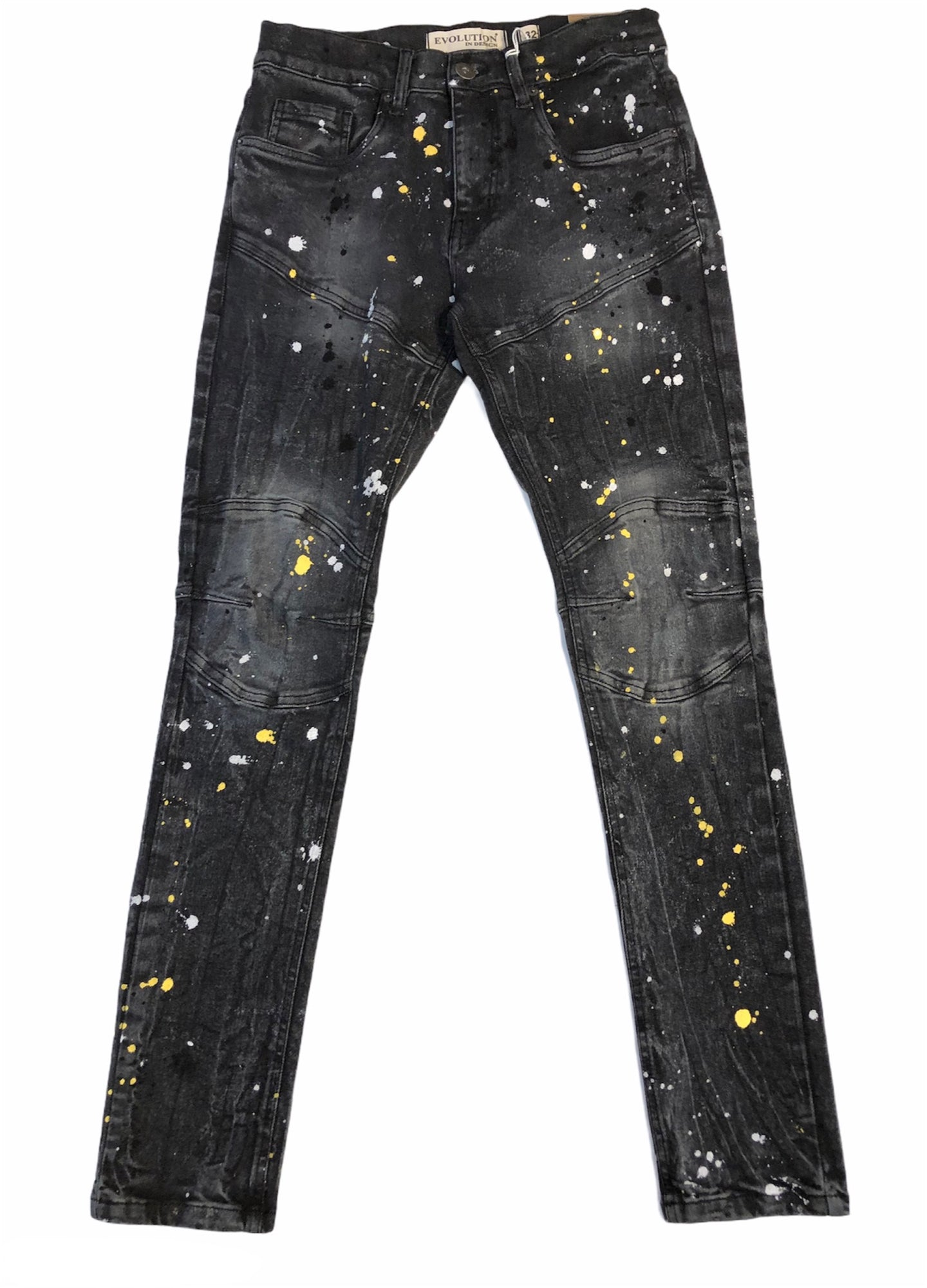 Slim Fit Black Paint Splattered Jeans