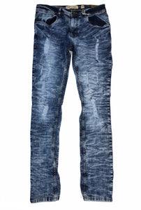 Distressed Slim Fit Ice Blue Jeans