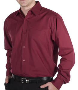 Daniel Ellissa Burgundy Long Sleeve Dress Shirt