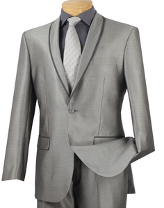 Vinci Shawl Collar Slim Fit Suit in Gray