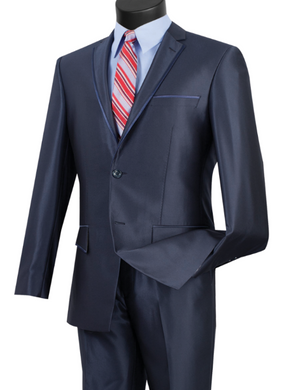 Vinci Slim Fit Sharkskin Notch Lapel Suit (Available in Multiple Colors)