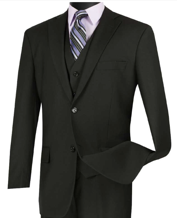 Vinci Classic Three Piece Suit in Black or Brown