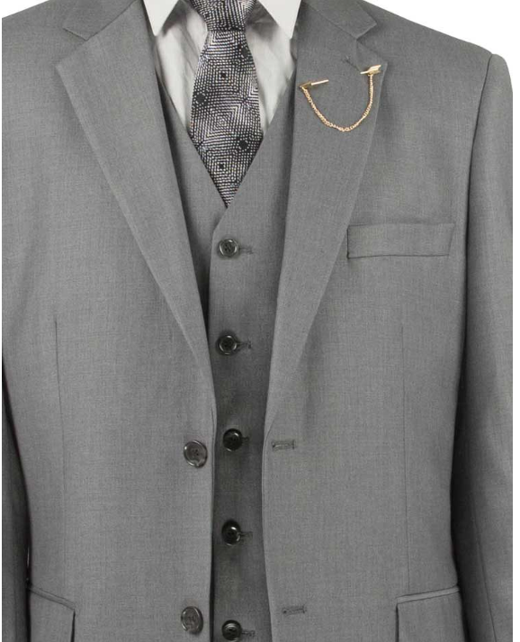 Vinci Classic Three Piece Suit in Medium Gray or Maroon