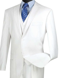 Vinci Classic Three Piece Suit in White or Ivory