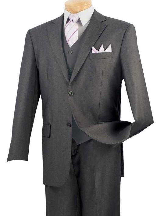 Vinci Classic Three Piece Suit in Heather Gray