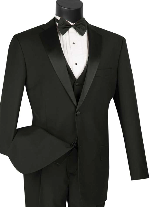 Three Piece Tuxedo with Vest and Bow Tie in Black