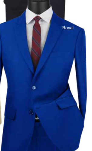 Solid Ultra Slim Suit in Royal and Beige