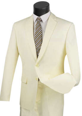 Slim Fit Vinci Suit in Ivory or Medium Gray or Beige