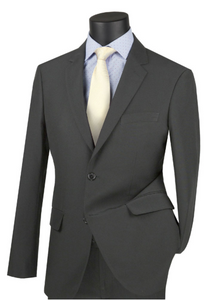 Single Breasted Suit in Medium Gray up to size 70
