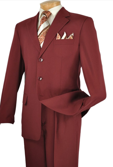 Three Button Suit in Burgundy up to size 70