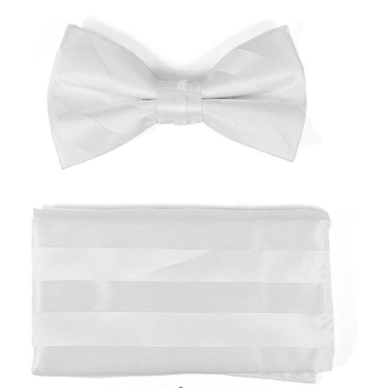 Solid Two Toned Bow Tie (White)