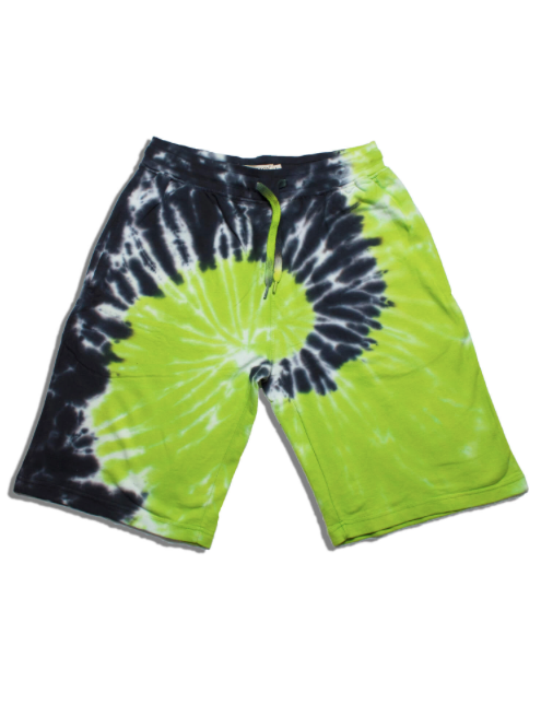 Navy and Lime Green Tie Dye Shorts