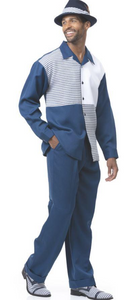 Navy Four Square Leisure Suit