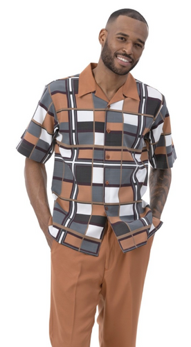 Cognac Checkered Patterned Leisure Suit