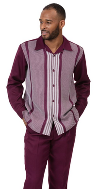 Burgundy Striped Leisure Suit
