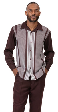 Brown Striped Leisure Suit