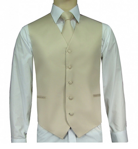Solid Satin Vests, Tie, and Hanky (Black, White, Khaki, and Ivory Variations)