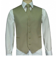 Load image into Gallery viewer, Solid Satin Vests, Tie, and Hanky (Black, White, Khaki, and Ivory Variations)