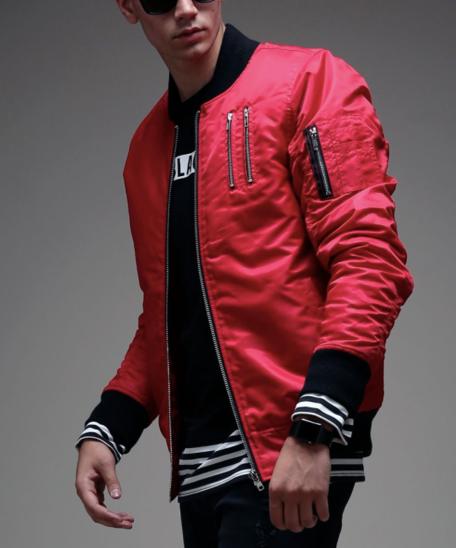 Basic Bomber Jacket (Available in Red or Black)