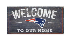 New England Patriots Welcome Distressed 6 x 12