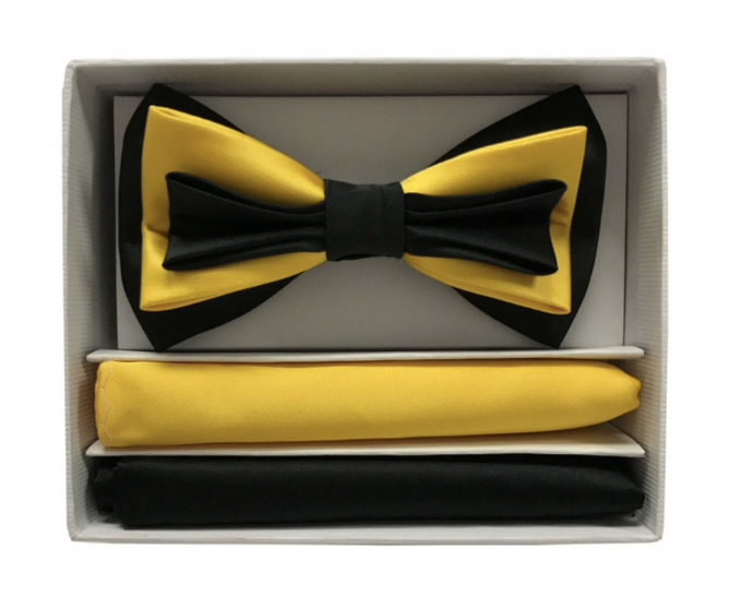 Three-Toned Bow Tie with Two Hankies