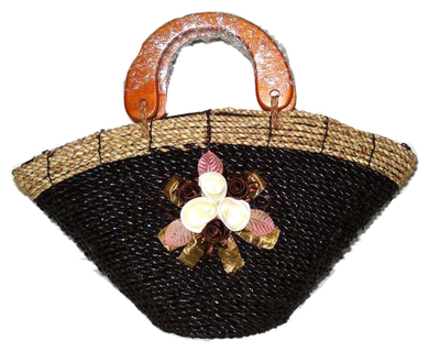 Bamboo Straw Bag with Wooden Handle