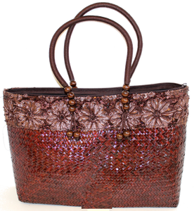 Large Bamboo Tote with Brown Rope Handle