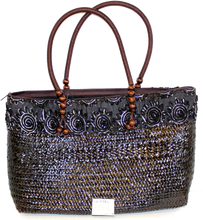 Load image into Gallery viewer, Large Bamboo Tote with Brown Rope Handle