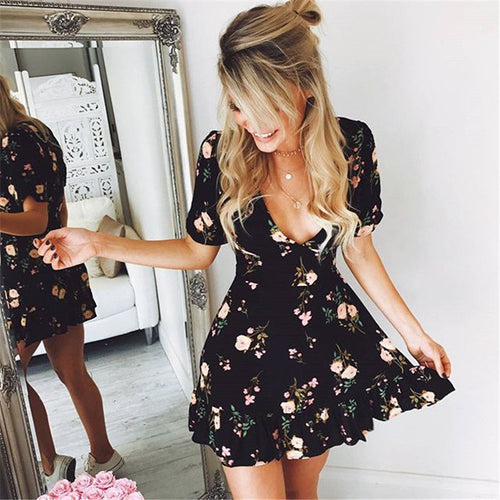 Women Mini Boho Floral Dress Summer Beach Short Sleeve V neck - ankitdamani736