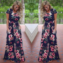 Load image into Gallery viewer, Women Long Maxi Dress 2019 Summer Floral Print Boho Beach Dress - ankitdamani736