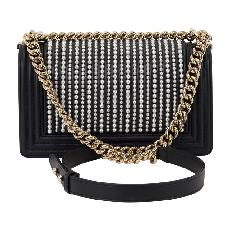 Chanel Black Lambskin Medium Boy Bag with Imitation Pearls