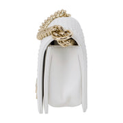 Chanel Small White Lambskin Boy Bag with Imitation Pearls