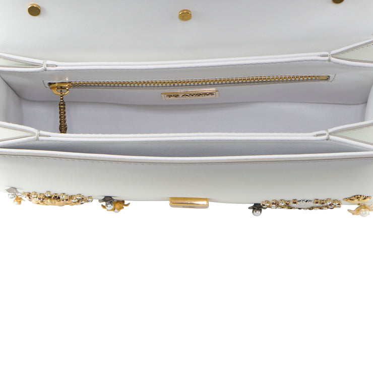 Dolce & Gabbana DG Amore' Bag in White Calfskin with Heart Embroidery