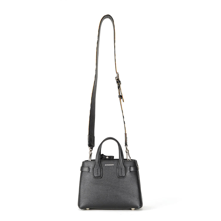 Burberry Black Baby Banner in Leather Tote with House-check Interior