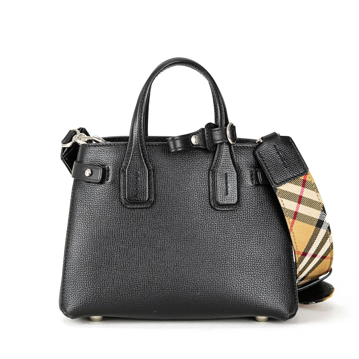 Shop A Black Burberry Handbag Baby Banner In Leather Tote Bag Luxury Parc
