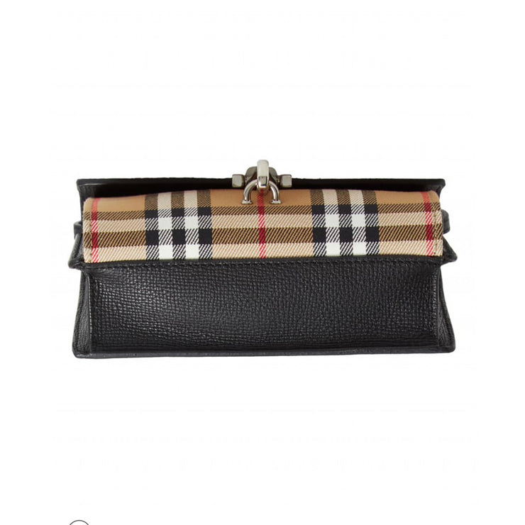 Burberry Mini Macken Handbag with Black Calfskin & Vintage Check