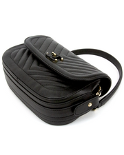 Chanel CC Chevron Quilted Flap Bag in Black Grained Calfskin Leather