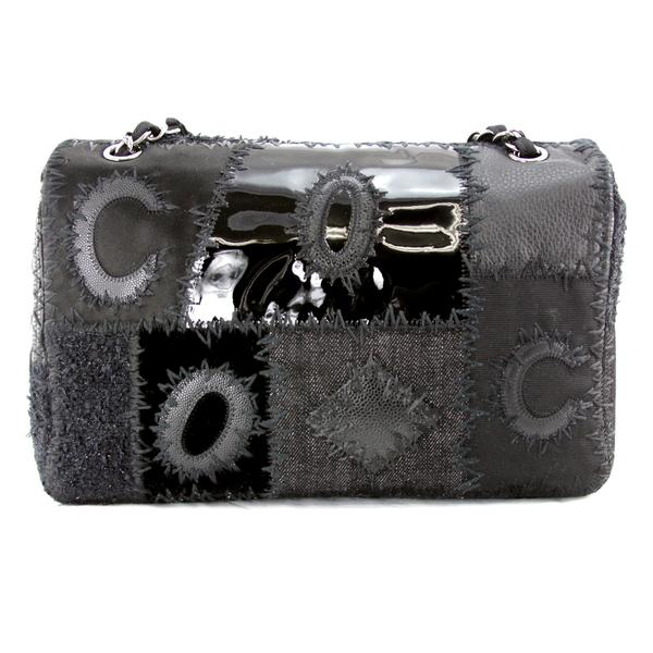 Chanel Flap Bag Jumbo with Black Tweed Patchwork