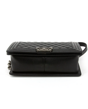 Chanel Medium Boy Bag with Black Quilted Caviar Leather
