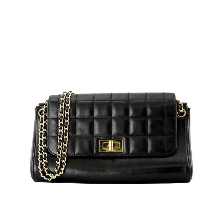 Chanel Chocolate Bar Handbag with Black Lambskin Leather