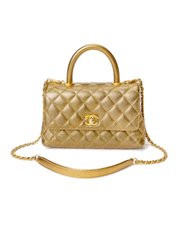 Chanel Coco Handle Flap Bag with Gold Quilted Caviar