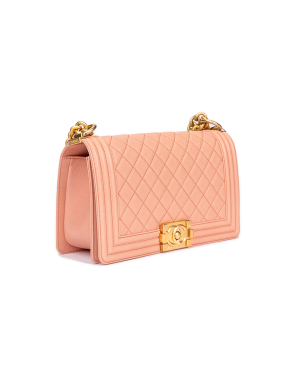 Chanel Boy Bag with Quilted Calfskin Leather in Coral