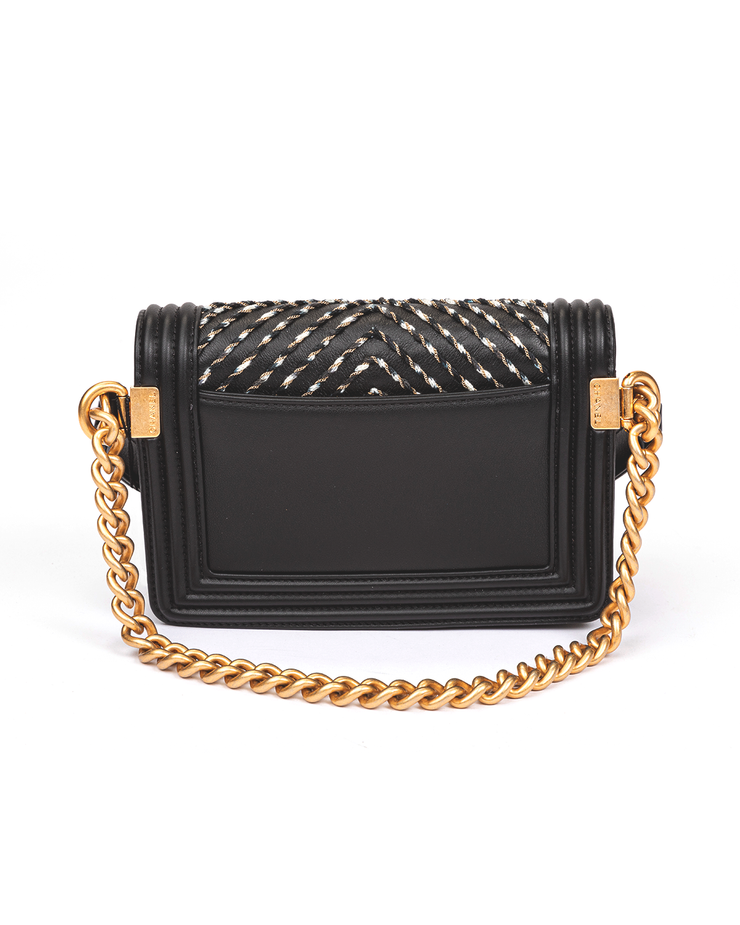 Chanel Boy Waist Bag with Black Embroidered Calfskin