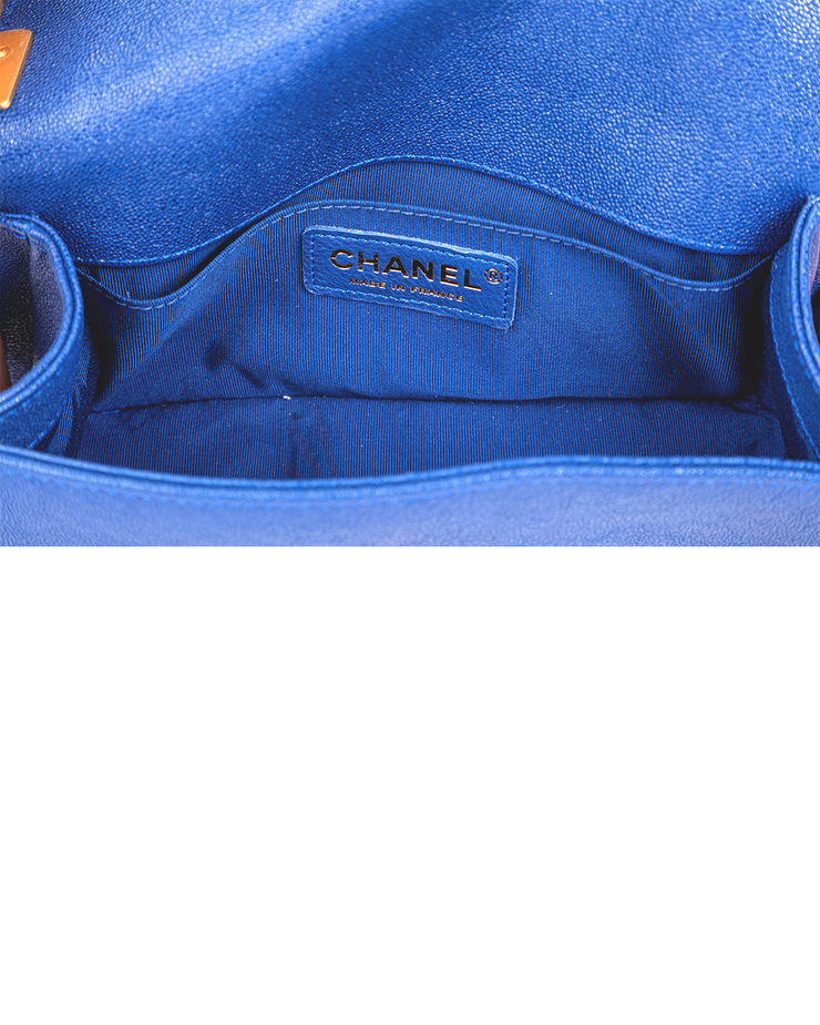 Chanel Boy Bag with Blue Grained Calfskin Leather