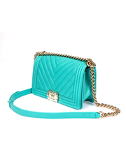 Chanel Boy Bag with Grained Turquoise Green Calfskin Leather