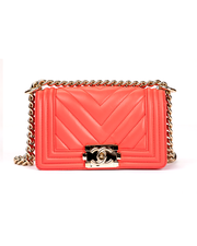 Chanel Boy Bag with Red Chevron Lambskin Mini
