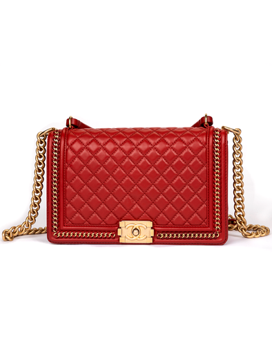 Chanel Boy Handle Bag with Red Quilted Calfskin and Gold Trim