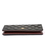 Chanel Long Wallet Black Quilted with Matelasse Stitch