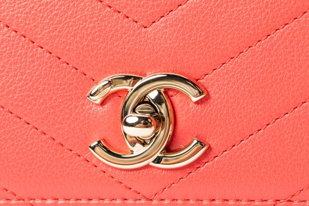 Chanel Pink Chevron Calfskin Flap Bag with Coco Handle