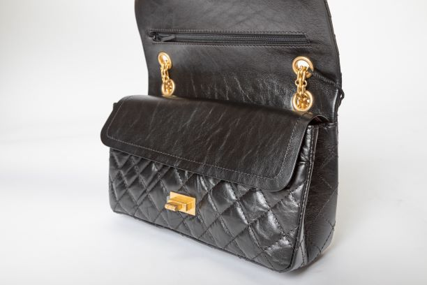 Chanel Retro 2.55 Reissue Double Flap Bag with Black Calfskin